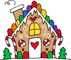 Clip art of a gingerbread house